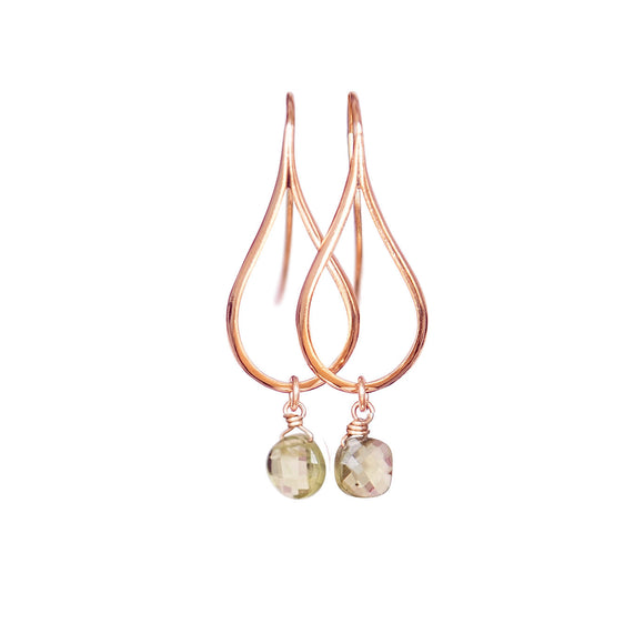 Rose Gold Earrings With Peridot Crystal, Dangly Earrings, Teardrop Earrings, Modern Jewelry, Peridot Earrings, Minimalist Earrings