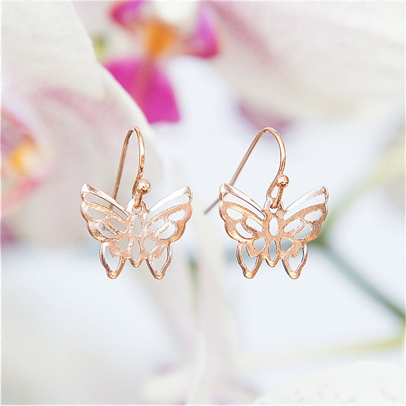 Butterfly Earrings, Rose Gold Earrings, Short Earrings, Modern Jewelry, Dangly Earrings, Rose Gold Butterfly