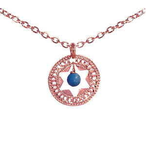 Jewish Star Jewelry, Star Of David, Rose Gold Necklace, Turquoise Necklace, Judaica Jewelry, Unique Jewish Jewelry