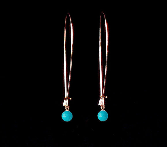 Delicate Rose Gold Earrings, Long Earrings, Turquoise Earrings, Modern Jewelry, Dangly Earrings