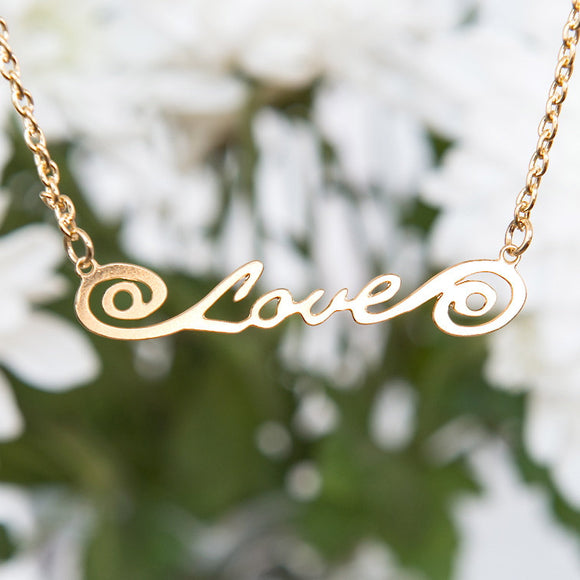 Gold Love Necklace, Gold Necklace, Gold Jewelry, Love Necklace, Script Love Necklace, Holiday Sale