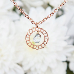 Rose Gold Necklace, Rose Gold Jewelry, Rose Gold Necklace With Aquamarine, Lacy Rose Gold Delicate Pendant With Aquamarine