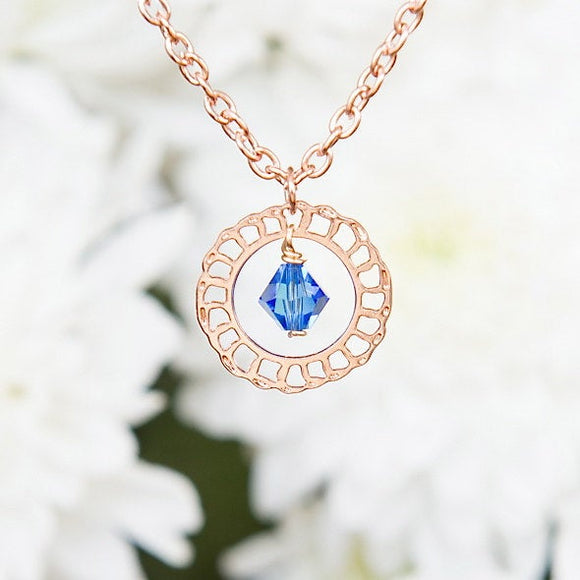 Lacy Rose Gold Minimal Necklace With Blue Swarovski Crystals, Delicate Necklace, Rose Gold Jewelry, Modern Jewelry