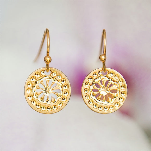 Gold Earrings, Flower, Modern Jewelry, Greek Jewelry, Dangly Earrings, Short Earrings, Flower Earrings