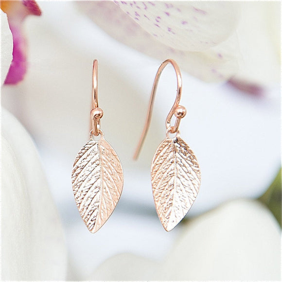 Delicate Rose Gold Leaf Earrings, Leaves Earrings, Elegant Earrings, Short Earrings, Leaf Jewelry