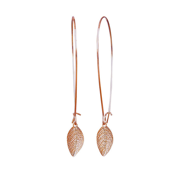 Elegant Rose Gold Leaf Earrings, Minimal Earrings, Long Earrings, Leaf Jewelry, Rose Gold Earrings