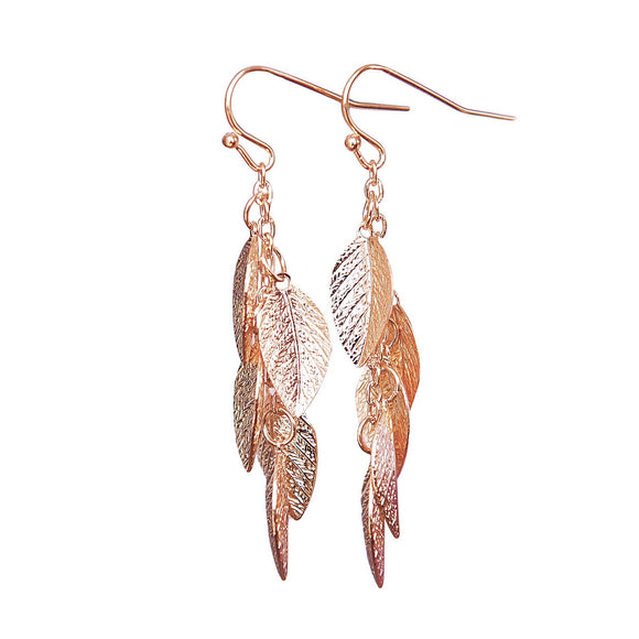 Rose Gold Leaf Earrings, Leaves Earring, Leaf Jewelry, Modern, Vine Earrings, Dangle Earring, Long Earrings