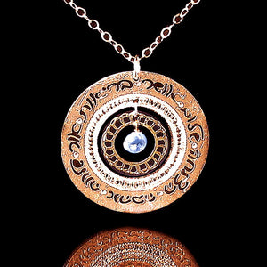 Jewish Necklace, Rose Gold Necklace, Blue Topaz Jewelry, Judaica Jewelry, Hebrew Jewelry, Hand Written, Engraved Jewelry, Jewish Jewelry