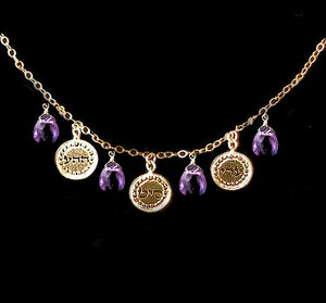 Kabbalah Jewelry, Gold Necklace ,Hebrew Jewelry, Kabbalah Necklace, Amethyst Necklace, Gold Jewelry, Kabbalah Gold Necklace