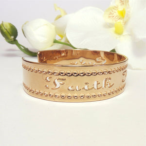 Faith Love Hope, Affirmation Jewelry, Rose Gold Cuff Bracelet, Thin Rose Gold Bracelet Cuff, Rose Gold Jewelry