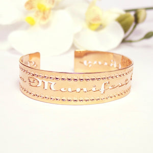 "Rose Gold ""I Can Manifest Anything"" Affirmation Jewelry, Inspiration, Success, Spiritual Jewelry, Dainty Rose Gold Bracelet"