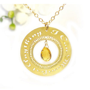 "Gold Necklace ""I Can Manifest Anything"" With Citrine Affirmation, Personal Development, Manifesting, Spiritual Jewelry"