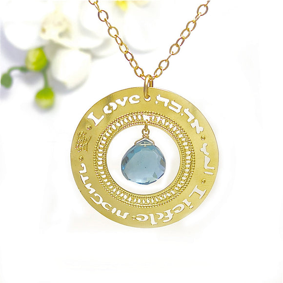 Gold Necklace, Affirmation Jewelry, Blue London Topaz, Gold Jewelry, Gold Pendant, Modern, Love Jewelry, Multilingual