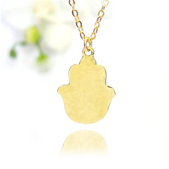 Small Gold Hamsa Hand Necklace, Gold Hamsa Necklace, Tiny Hamsa Necklace, Dainty Gold, Hammered Delicate Gold Necklace, Jewish Jewelry