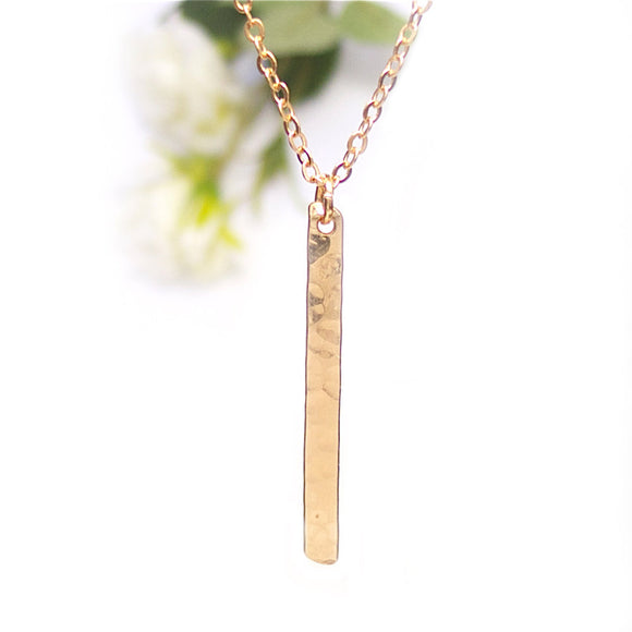 Rose Gold Bar Necklace, Vertical Bar Necklace, Dainty Rose Gold Necklace, Hammered Rose Gold Bar Necklace, Simple Rose Gold Bar Necklace