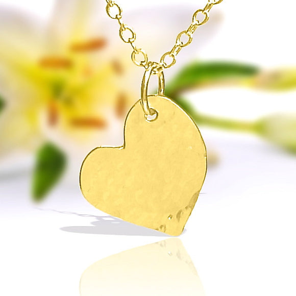 Gold Heart Necklace, Simple Necklace, Sideways Heart Dainty Gold Necklace, Hammered Gold Necklace, Simple Gold Necklace