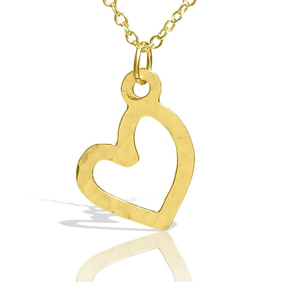 Sideways Heart, Dainty Gold Necklace, Gold Heart Necklace, Simple Necklace, Hammered Gold Necklace, Tiny Necklace