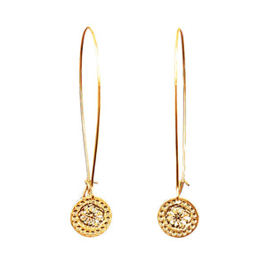 Gold Earrings, Long Earrings, Modern Jewelry, Dangly Earrings, Flower Design, Gold Earrings, Elegant Earrings