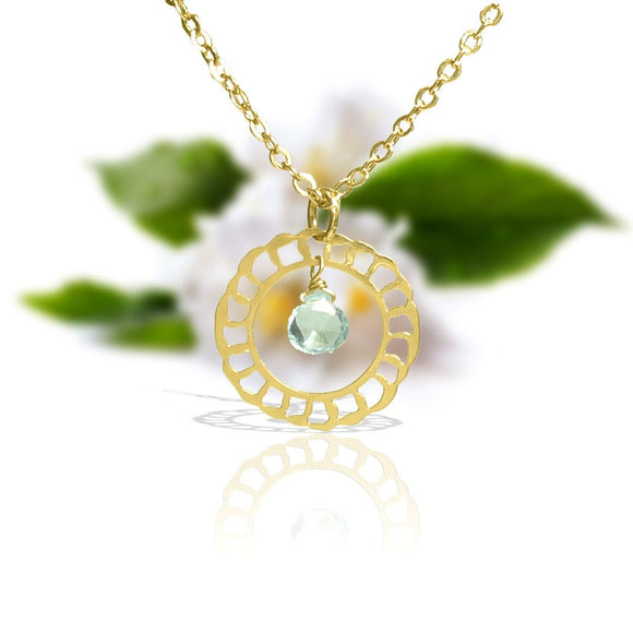 Gold Necklace, Gold Jewelry, Gold Necklace With Aquamarine, Lacy Gold, Delicate Pendant With Aquamarine