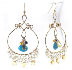 Golden Aramati Earrings With Onyx, Citrine And Turquoise