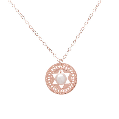 Star Of David, Rose Gold Necklace, Pearl, Holy Jewelry, Jewish Jewelry, Faith Jewelry, Prayer Jewelry, Religious Jewelry, Judaica Jewelry