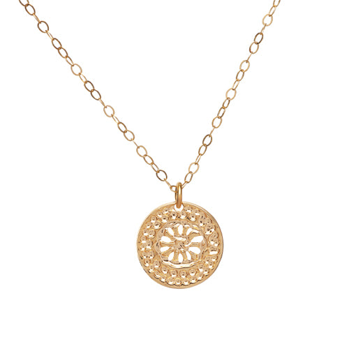 Gold Necklace, Flower Disc Necklace, Dainty Necklace, Minimalist Necklace, Modern Necklace, Delightful Jewelry, Elegant