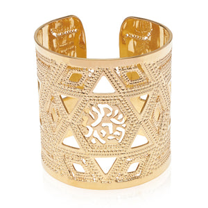 Shma Israel Gold Cuff, Hebrew Jewelry, Spiritual Jewelry, Blessings Jewelry, Unique Jewish Jewelry, Gold Bracelet, Judaica Jewelry