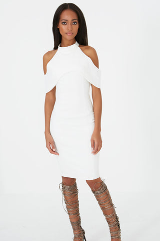Halterneck Open Shoulder Midi Dress - DISTRICT-FASHION - 1