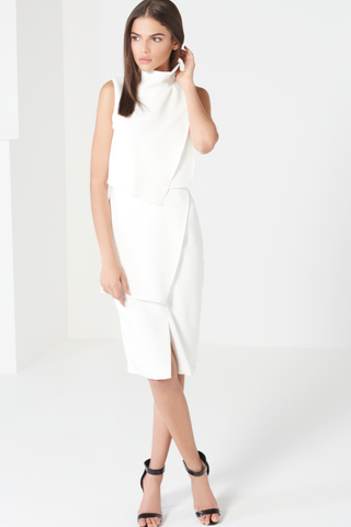 High Neck Asymmetric Drape Midi Dress - DISTRICT-FASHION - 1