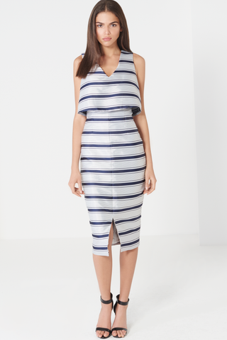 Striped Print V Neck Floaty Cropped Midi Dress - DISTRICT-FASHION - 1