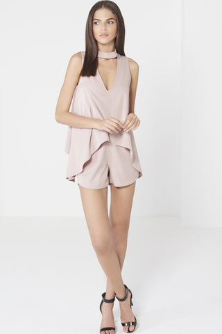 Keyhole High Neck Double Layer Draped Playsuit - DISTRICT-FASHION - 1