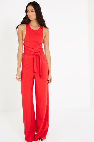 Cross Strap Tie Detail Straight Leg Jumpsuit - DISTRICT-FASHION - 1