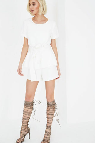 Sash Belt Cropped Playsuit - DISTRICT-FASHION - 1