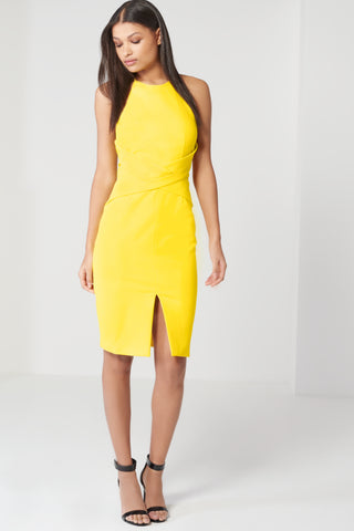 Wrap Front Keyhole Back Detail Midi Dress - DISTRICT-FASHION - 1
