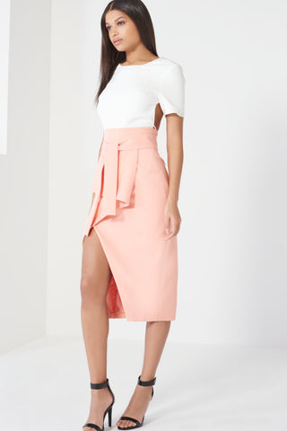 Tie Front Asymmetric Wrap Midi Skirt - DISTRICT-FASHION - 1