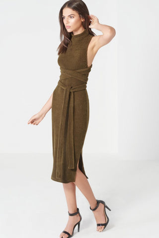 Khaki Rib Open Back Wrap Tie Midi Dress - DISTRICT-FASHION - 1