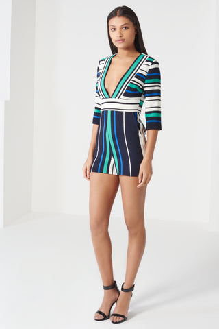 Multi-coloured Strip Print Deep Plunge Playsuit - DISTRICT-FASHION - 1