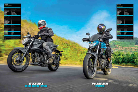 Fast Bikes India-Suzuki Gixxer250 Vs Yamaha FZ25 (Limited Edition) | Poster
