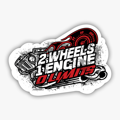 2 Wheels 1 Engine 0 Limits | Sticker