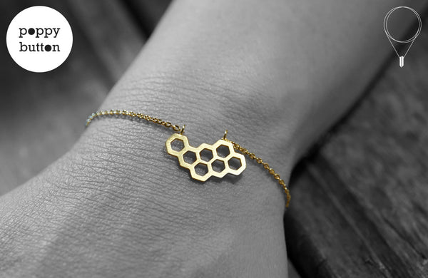 Gold or silver plated stainless steel honeycomb bracelet - Poppy Button Design - 1