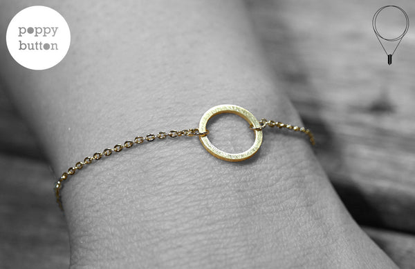 Gold, rose gold or silver plated stainless steel open loopy circle with brushed texture bracelet - Poppy Button Design - 1