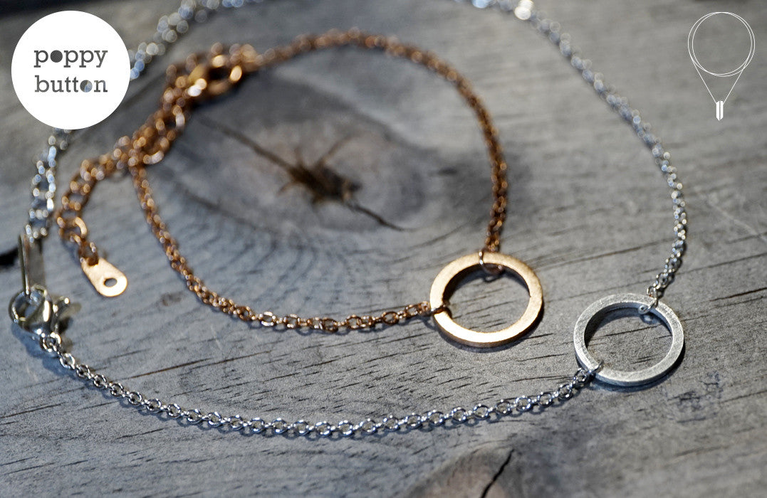 Gold, rose gold or silver plated stainless steel open loopy circle with brushed texture bracelet - Poppy Button Design - 4