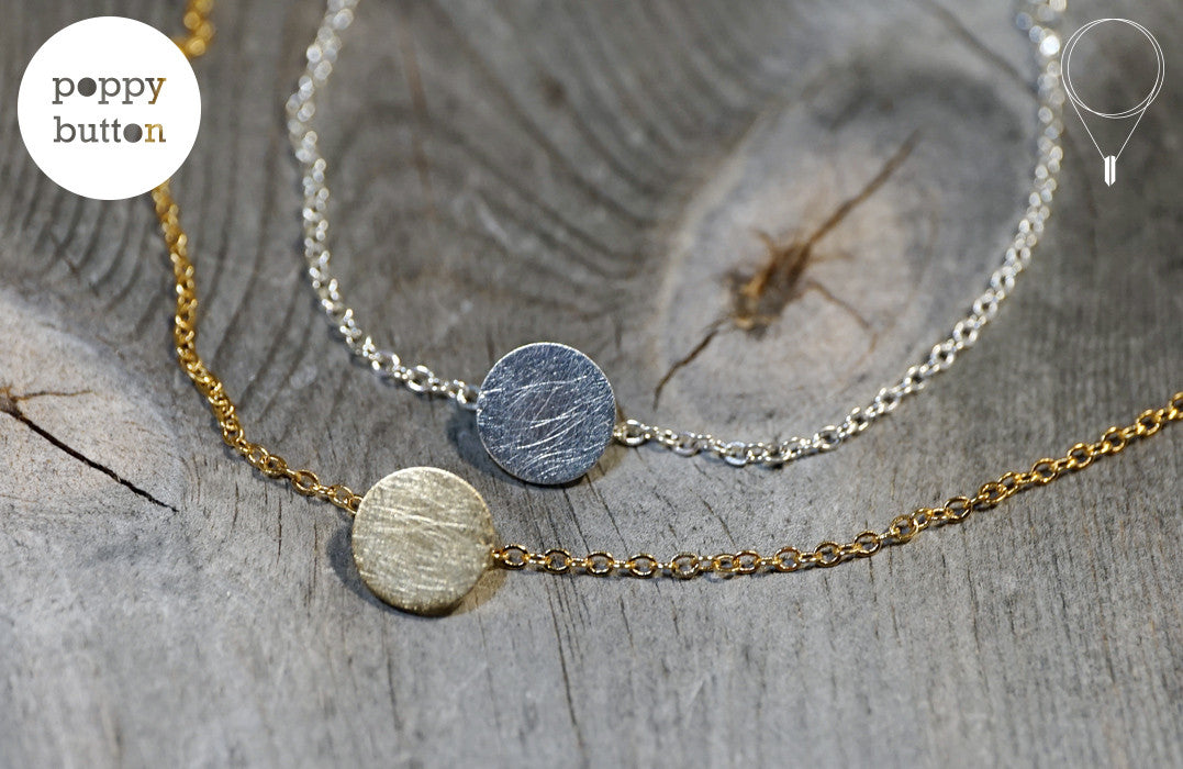 Gold or silver plated stainless steel round disc with texture bracelet - Poppy Button Design - 3