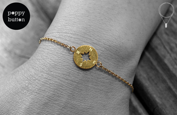 Gold, rose gold or silver plated stainless steel compass bracelet - Poppy Button Design - 1
