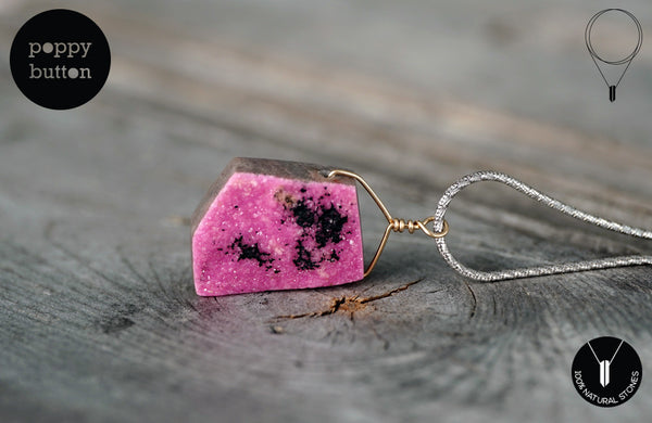 Pink druzy Cobalto Calcite geometric necklace - Poppy Button Design - 1