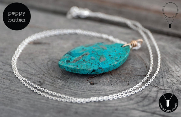 Chrysocolla leaf pendant necklace - Poppy Button Design - 1