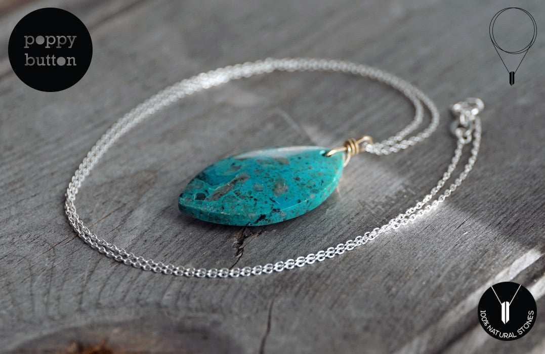 Chrysocolla leaf pendant necklace - Poppy Button Design - 3