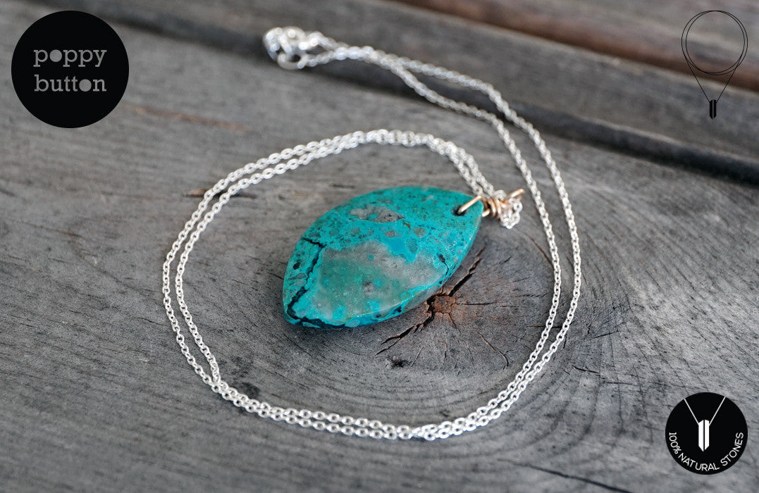 Chrysocolla leaf pendant necklace - Poppy Button Design - 5