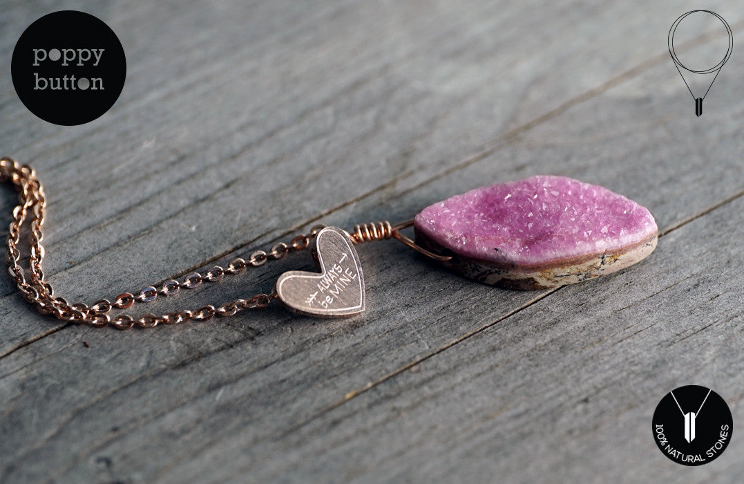 Pink druzy Cobalto Calcite heart necklace - Poppy Button Design - 3