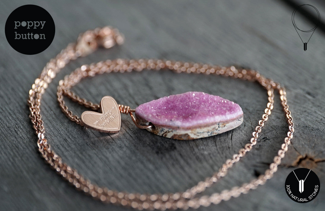 Pink druzy Cobalto Calcite heart necklace - Poppy Button Design - 4